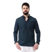 Premoda Long Sleeves Tartan Slim Fit Shirt - Navy Blue & Green