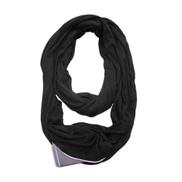 Generic Soft Zipper Pocket Loop Scarf Women Fashion Autumn Winter Warm Solid Blue O Ring Scarves Ladies Infinity Scarfs Black