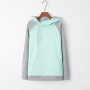 Fashion Stitched Hooded Zipper Long Sleeve Sweatshirt Light Green