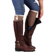 Fashion Women Lace Stretch Boot Leg Cuffs Boot Hosiery Socks Khaki