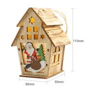 Generic Christmas Luminous Wooden House With LEDs Light DIY Wood