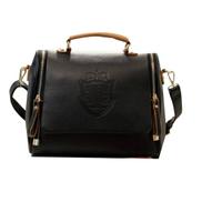 Generic Portable PU Leather Shoulder Bag Double Zipper Crown Overprint Ladies