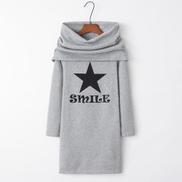 Fashion Printed Hooded Bag Hip Long Sweatershirt Light Grey