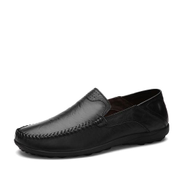 Fashion Mens Plus Size Soft Leather Loafer Flats Comfortable Driving Shoes-Black