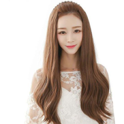 Fashion lovely long curly half wigs for ladies light brown B5030