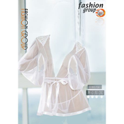 Fashion Group Lace Short Robe With Panty - White