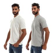 Generic Bundle Of 2 Plain Polo-shirts - White,Grey