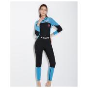 Generic Womens Wetsuit Full Sleeve 3mm Neoprene Back Zipper Full Body One Piece Wet Suit Ladies Wetsuits Diving Scuba Surfing SuitBlue