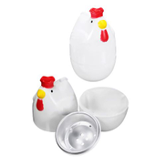 2 Pcs Chicken Shaped Egg Cooker Poacher Boiler Steamer Microwave