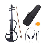 Generic Solid Wood Electric Silent Violin 4 4 With Ebony Fittings + Accessories - Black Metallic