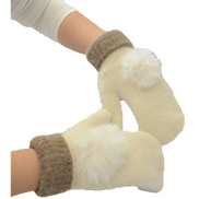 Generic Women'S Cute Rabbit Cony Hair Ball Gloves - A505