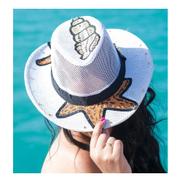 Generic حزام قبعة الشاطئ من القش - أوف وايت