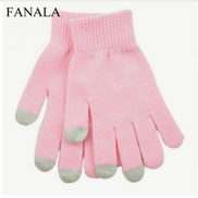 Generic Fashion Solid Knitted Casual Gloves Full Screen Stretch Warm Touch Finger Split Winter Wrist Geometric Unisex Light Pink