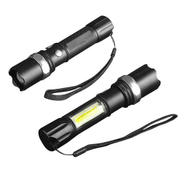 Generic XANES 1102 XPE + COB 1000Lumens 3Modes Front & Side Lights Red & Blue & White Lights LED Flashlight- CUI