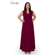 Smoky Egypt Maxi A-Line Crepe Dress - Burgundy