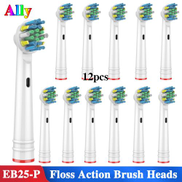 Generic 12PCS EB25 For Oral B Floss Action Replacement Brush Heads For Braun Oral B Triumph Vitality D100 D32 Electric Toothbrush Heads