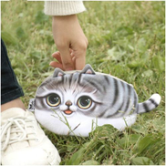 Generic Kawaii Cats Zipper Pencils Bags Cute 3D Plush Pencils Case Large Capacity School Supplies Stationery Pen Box-Long Gray Tail
