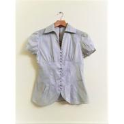 0 Button Down Short Sleeve V Neck Shirt - Light Grey