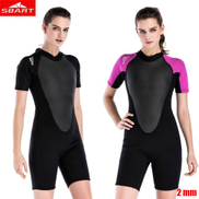 Generic 2mm Women Neoprene Wetsuit Elastic Colour Surf Diving Equipment Suit Clothing Short Sleeved One Piece Fitted Warm SurfingRose