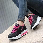 Fashion Blicool Shoes Women Casual Sport Fashion Walking Flats Height Increasing Swing Wedges ShoeBlack
