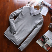 Fashion 2018 New Autumn Men Sweater Male Cotton Casual Pullover Men Sweater V-Neck 7 Colors Sweaters For Jumper Men-all Grey