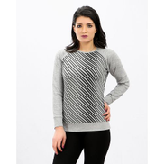 Kady Front Striped Long Sleeves Top - Black