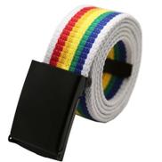 Eissely Fashion Unisex Plain Webbing Mens Boys Waist Belt Casual Canvas Waistband Rainbow