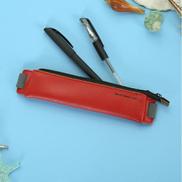 Generic 2 PCS Business PU Pencil Case Simple Office Elastic Buckle Student Book Mini Pencil Box-Red