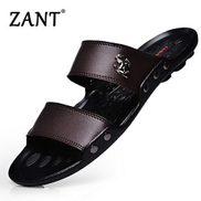 Fashion Luxury Brand Men's Flip Flops Fashion Slippers Summer Beach Sandals Shoes For Men Flip-flops Brown