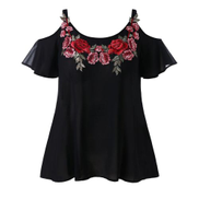 Generic Generic Fashion Women Strap Chiffon Casual Cold Shoulder Embroidered T-shirt Blouse Tops A1
