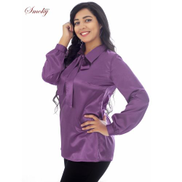 Smoky Egypt Satin Blouse With Removable Bow Tie - Light Purple