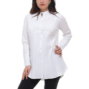 0 Stop Plus Size Casual Buttoned Shirt - White