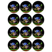 Generic Sonic Game Round Stickers - 12 Pcs