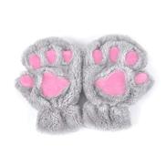 Generic Free Delivery THINKTHENDO WOMEN Winter Cute Cat Paw Claw Plush Mittens Short Fingerless Finger Half GlovesLG