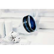 Generic Tungsten Carbide Ring - Black & Dodger Blue