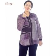Smoky Egypt Panel Patterned Cupro Shirt - Purple