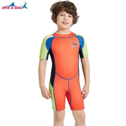 Generic New 2.5MM Neoprene Diving Wetsuits For Kids Rash Guards Short Sleeve One Piece Swimsuit Girls Swimming Surf SuitOrange