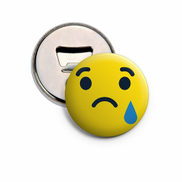 Magnetic Button Pin Bottle Opener - Crying Face