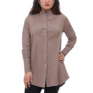 0 Stop Plus Size Casual Buttoned Shirt - Khaki
