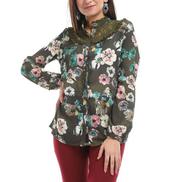 Esla ESLA - Floral Long Sleeved Shirt - Olive