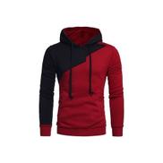 Generic Fashion Drawstring Irregular Panel Fleece Hoodie - Wine Red