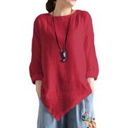 Fashion Women Irregular Long Sleeve Linen Tops Blouse