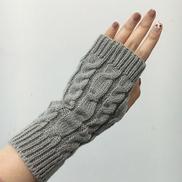 Generic C Women Gloves Fashion Knitted Hand Warmer Winter Gloves Arm Crochet Faux Wool Mittens Warm Fingerless Luvas Gloves Gants Femme1C