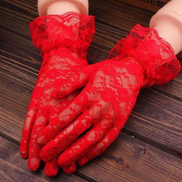 Generic Black Sexy Lace Gloves Women 2019 Vintage Elastic Sun Protection Solid Sunscreen Summer Gorgeous Pink Finger Gloves Accessories