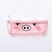 Generic Transparent Pig Pencil Case For Girls Cute PVC Pencil Bag Stationery Pen Pouch School Office Supplies-Squinting