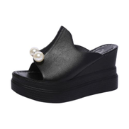 Fashion Huskspo Women's Ladies Slippers Thick-Bottom Solid Pearl Waterproof Wedge Sandals Shoes-Black