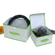 Generic صندوق تخزين متعدد الوظائف قابل للطي بنمط نقطي باللون الأخضر