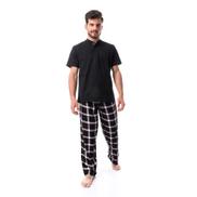Kady Tartan Pajama Pant Set - أبيض مرقش ، أسود وأحمر