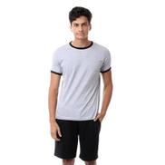 Kady Plain Comfy Summer Pajama Set - Light Grey & Black
