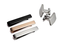 GO Tie Bar Set 3 Colors & Cufflinks Silver